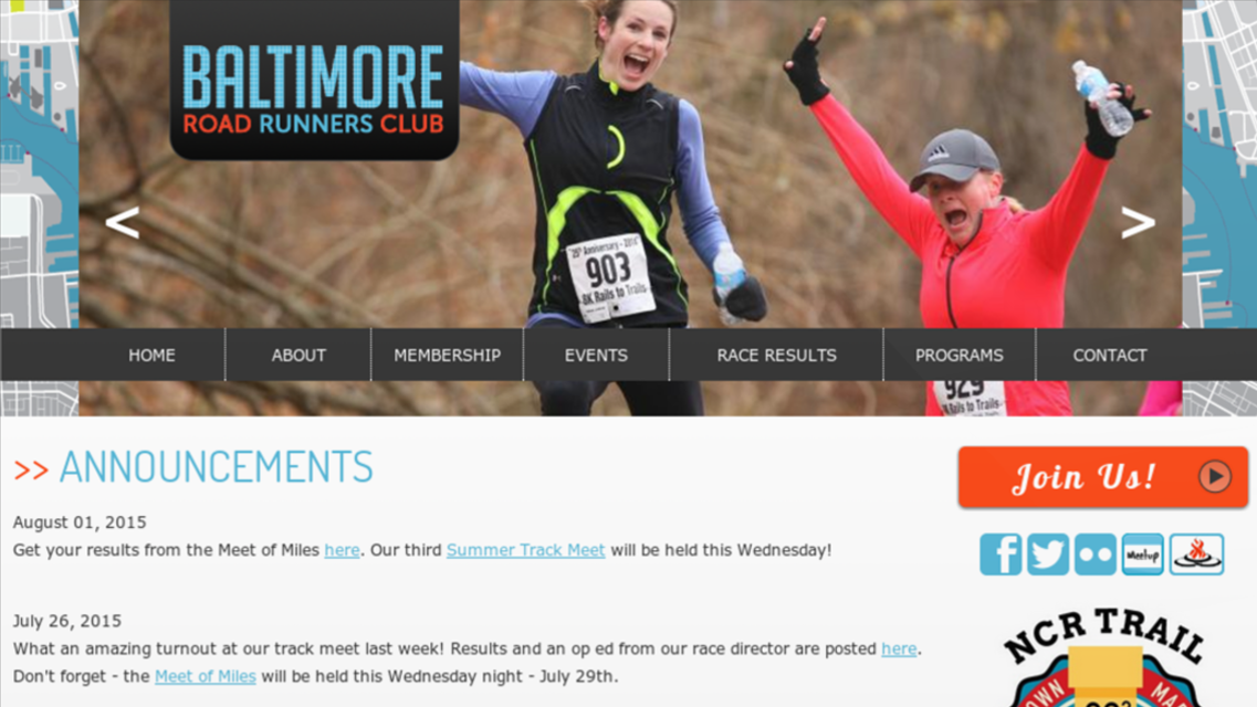 Baltimore Road Runners Club Website